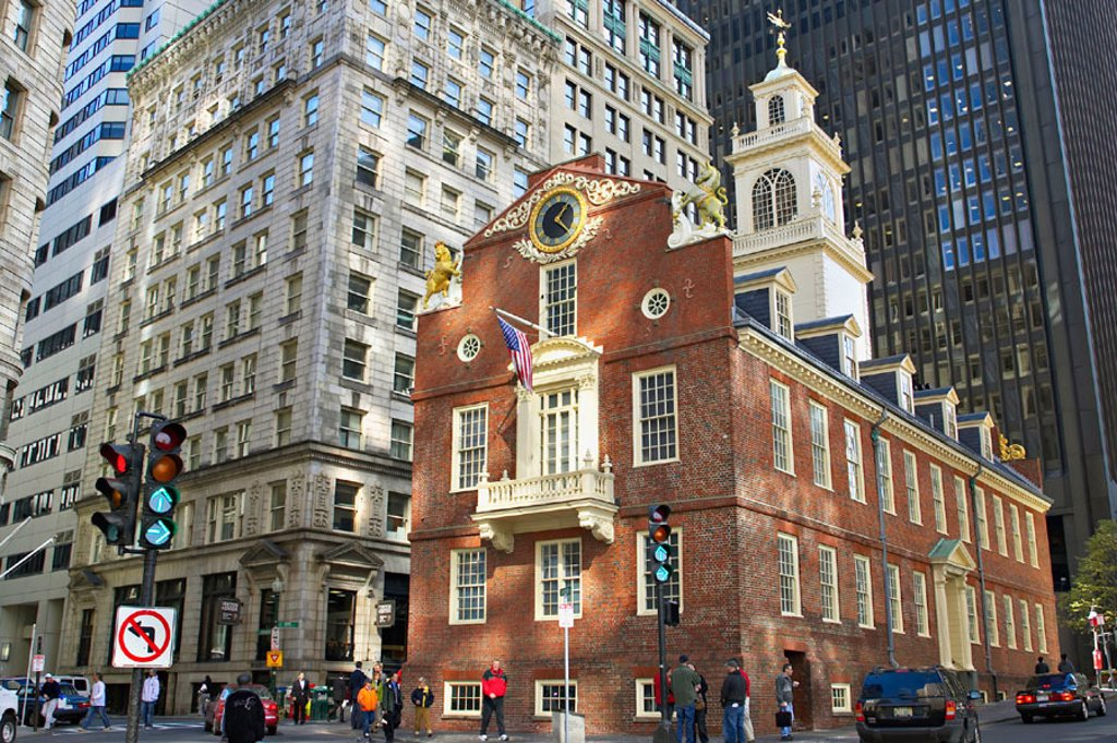 Stock Photo: 1566-291951 Massachusetts, Boston, Old State House, site along Freedom Trail, oldest public building in city, amid modern buildings, no left turn sign