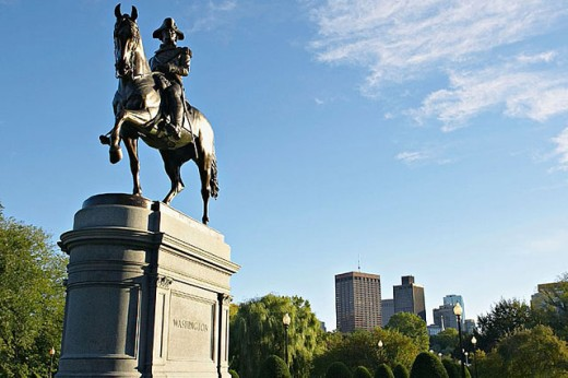 Massachusetts, Boston, Statue of George Washington mounted on a horse in Boston Garden, created by Thomas Ball : Stock Photo