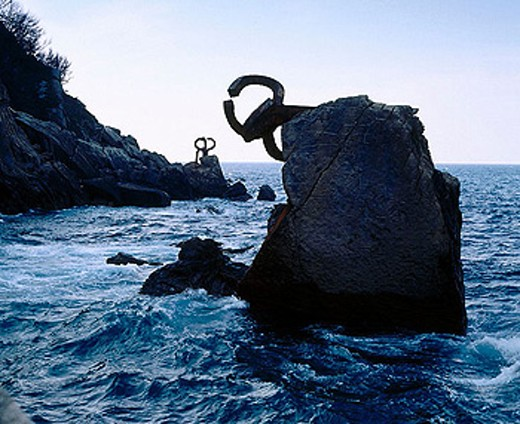 Stock Photo: 1566-292631 ´Peine de los Vientos´ (Wind´s Comb) by Eduardo Chillida sculpture. Donostia, San Sebastian. Euskadi. Spain.