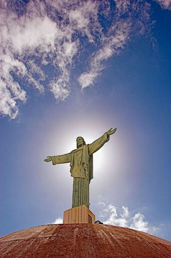 Christ statue on Pico Isabel de Torres, Puerto Plata, Dominican Republic : Stock Photo