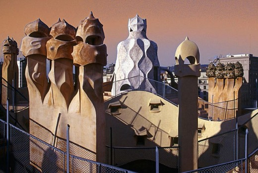Roof. La Pedrera. Casa Milà. Barcelona. Catalunya. Spain. : Stock Photo