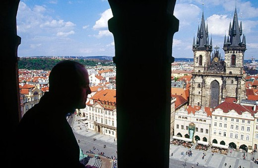 Stock Photo: 1566-294361 Staromestske Namesti (Old Town square) and Our Lady of Tyn church from City Hall tower. Prague.