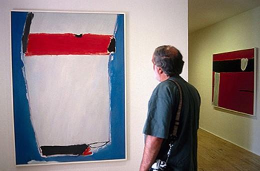 Museo de Arte Abstracto de Cuenca. ´Blanco, Rojo, Azul´ by José Guerrero. Castilla la Mancha. Spain. : Stock Photo