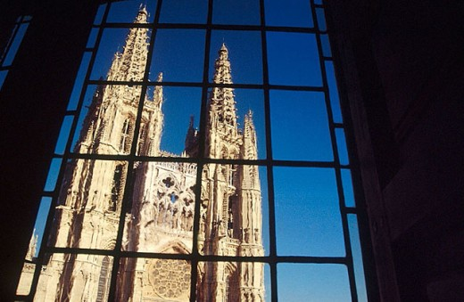 Stock Photo: 1566-294407 Burgos cathedral seen from El Mesón del Cid. Burgos. Spain.