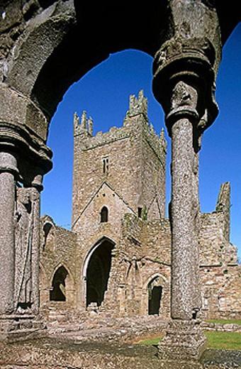 Jerpoint Abbey (1158). Co. Kilkenny. Ireland. : Stock Photo