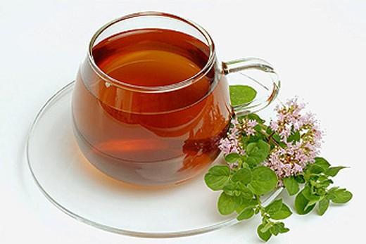 Wild majoram (Origanum vulgare) tea. : Stock Photo
