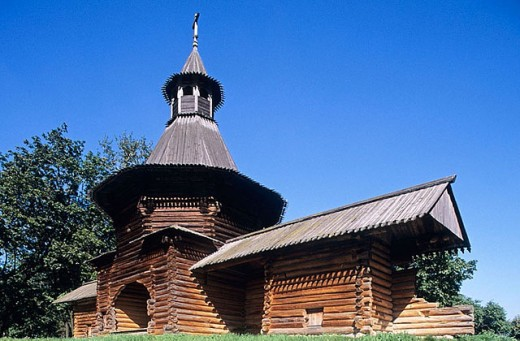 Wooden gateway tower (17th century), Kolomenskoye. Moscow, Russia : Stock Photo