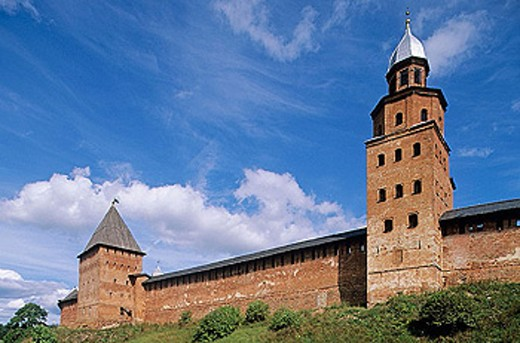 Fortress walls, Kremlin, Velikiy Novgorod. Russia : Stock Photo