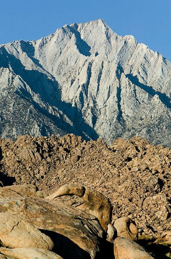 Stock Photo: 1566-296109 Stone arch and rock formations of the Alabama Hills with Lone Pine Peak in the background. Eastern Sierras. Bishop. California. United States