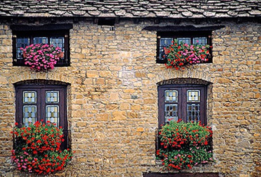 Typical houses detail in Plaza Mayor. Medieval village of Ainsa. Huesca province. Aragon. Spain. : Stock Photo