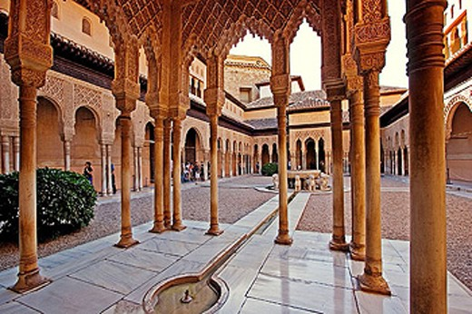 Patio de los Leones. Alhambra. Granada. Andalucia. Spain. : Stock Photo