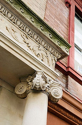 Detail of Greek-revival architecture. New York City. New York. United States : Stock Photo