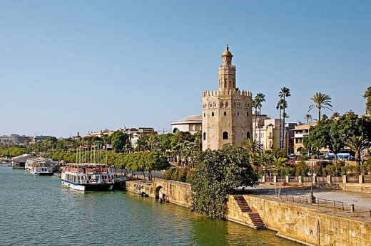 Torre del Oro and Guadalquivir river. Sevilla. Andalucia. Spain. : Stock Photo