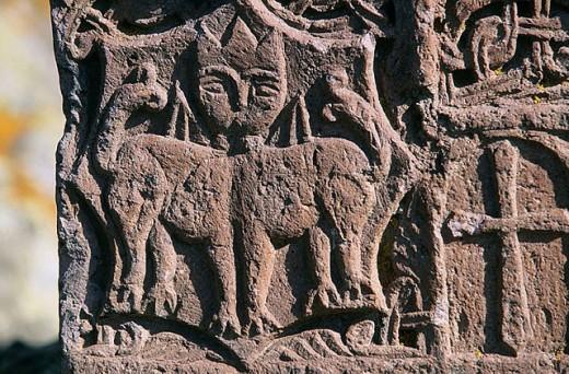Stock Photo: 1566-297699 Detail of ´khachkar´, Hayravank. Armenia