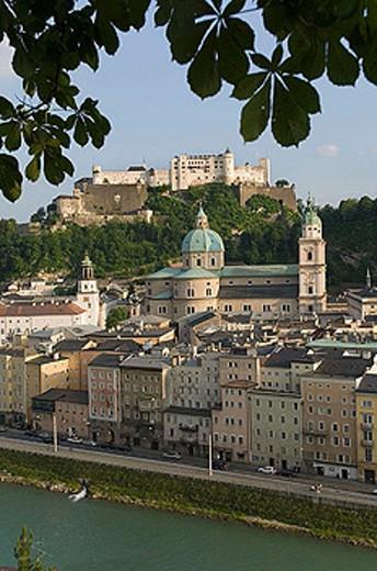 Austria, Salzburg, cityscape showing Schloss Hohensalzburg dom vista : Stock Photo