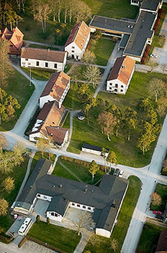 Village, aerial view. Hemse. Gotland. Sweden : Stock Photo
