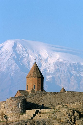 Khor Virap Monastery (16th century) with Mt. Ararat in background. Armenia : Stock Photo