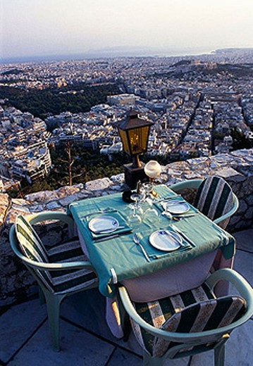 Restaurant in Lykavittos Hill, Athens. Greece : Stock Photo
