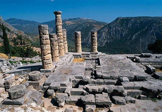 Temple of Apollo at the Sanctuary of Apollo (4th century B.C.), Mount Parnassus, Delphi. Greece : Stock Photo