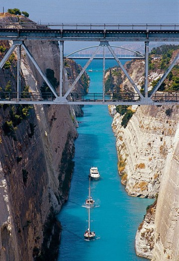 Stock Photo: 1566-298733 Corinth Canal, built between 1883-1893. Greece