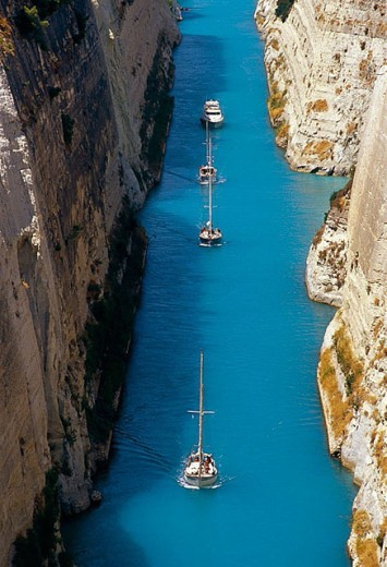 Corinth Canal, built between 1883-1893. Greece : Stock Photo