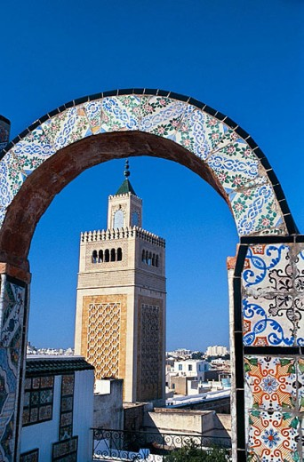 Stock Photo: 1566-298765 Overview from oriental palace flat roof with Zitouna mosque minaret (the Great Mosque), Tunis. Tunisia