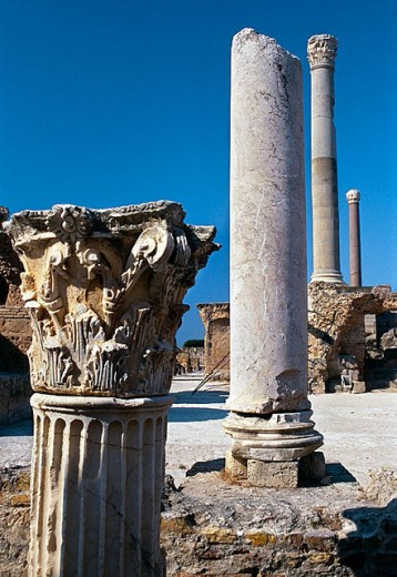 The Antonine Baths (built on the 2nd century A.D.), Carthage. Tunisia : Stock Photo