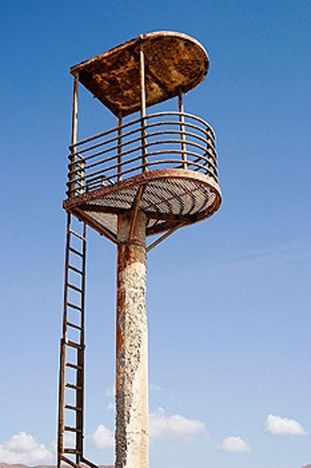 Abandoned, rusty lifeguard´s tower. Cabo de Gata. Spain : Stock Photo