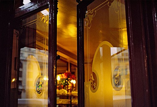 Entrance door, glass door, café, Paris. France : Stock Photo