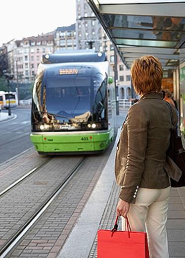 Commuters. Tramway. Bilbao, Bizkaia, Euskadi. Spain. : Stock Photo