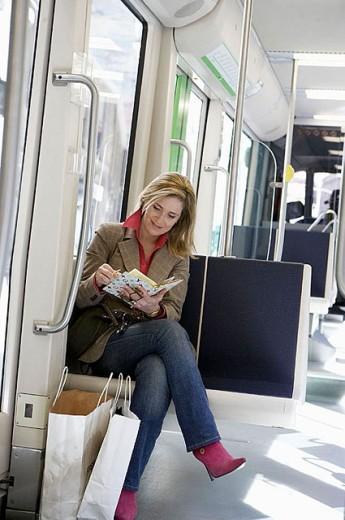 Stock Photo: 1566-300706 Commuters. Tramway. Bilbao, Bizkaia, Euskadi. Spain.