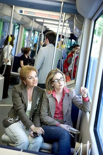 Stock Photo: 1566-300878 Commuters. Tramway. Bilbao, Bizkaia, Euskadi. Spain.