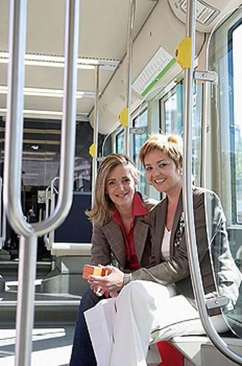 Stock Photo: 1566-300889 Commuters. Tramway. Bilbao, Bizkaia, Euskadi. Spain.