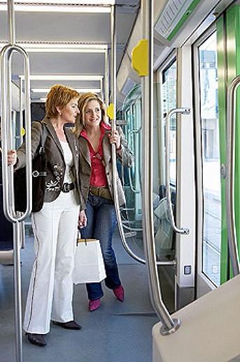 Stock Photo: 1566-300891 Commuters. Tramway. Bilbao, Bizkaia, Euskadi. Spain.