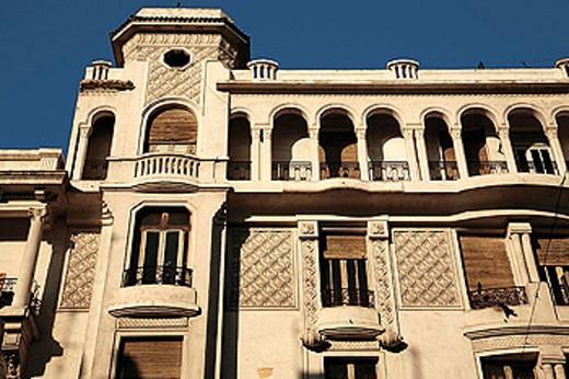 ´Art Deco Nouveau Arabisant´ building on Mohamed V Boulevard at Casablanca. Morocco. : Stock Photo