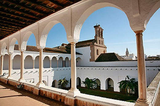 Stock Photo: 1566-301781 Upper Gallery of the ´Patio de las Madres´ (Mothers cloister) XV-XVIc., at the Monastery of Santa Clara, at Moguer. Huelva province. Spain.