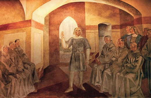 Stock Photo: 1566-301797 Monastery of La Rabida at Palos de la Frontera: wall painting by Daniel Vazquez Diaz (1929-1930), scene of Christopher Columbus, with the priests of the monastery. Huelva province. Spain.