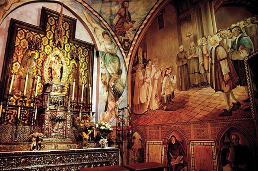Monastery of La Rabida, at Palos de la Frontera: Chapel of Alabaster Virgin (XIIIth century) in front of which Columbus and his sailors prayed. Huelva province. Spain. : Stock Photo
