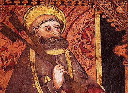 San Pedro, detail of the altar (XVc.) of the Santa Maria Magdalena church at Cala. Huelva province. Spain. : Stock Photo