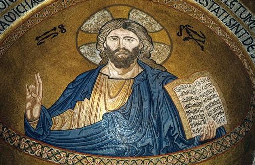 Jesus Christ, Pantokrator, Mosaics in Cappella Palatina (12 century), Palermo, Sicily, Italy : Stock Photo
