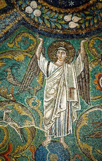 Stock Photo: 1566-302129 Angel, Mosaics, Basilica of San Vitale (526-547), Ravenna, Italy