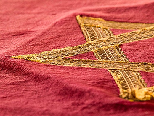 Stock Photo: 1566-302872 Fabric and other memorabilia in the museum section of a historic Jewish Synagaogue in Tucson, Arizona