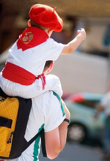 Stock Photo: 1566-304866 Young boy in Basque costume at the Festival of San Fermin Pamplona Navarre Spain