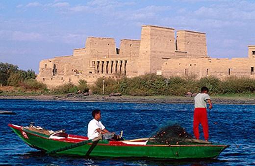 Fishermen on Lake Nasser by Philae Temple. Aswan, Nubia. Egypt : Stock Photo