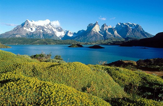 Cuernos del Paine and Pehoe Lake, Torres del Paine National Park. Patagonia, Chile : Stock Photo