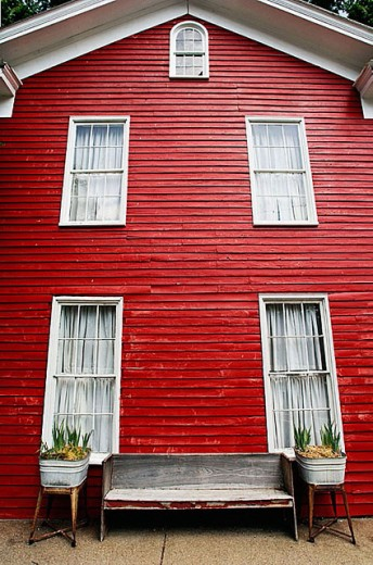 Red historic building in New Harmony. Indiana, USA : Stock Photo
