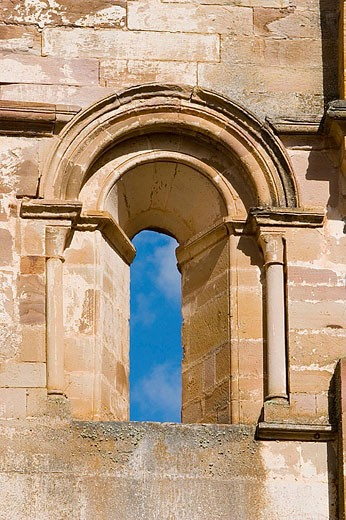 Stock Photo: 1566-312203 Window on apse of church, ruins of Santa Maria de Moreruela Cistercian monastery (12th century). Zamora province, Castilla-León, Spain