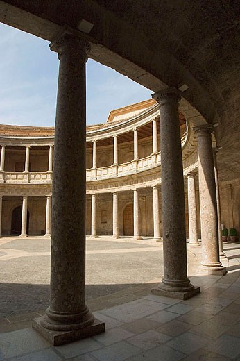 Charles V Palace at the Alhambra of Granada. Spain. : Stock Photo