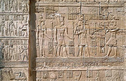 Relief in Deir el-Hagar Roman temple, Dakhla oasis. Lybian desert, Egypt : Stock Photo