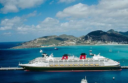 Cruiseship. Philipsburg. Sint Maarten. Netherlands Antilles. : Stock Photo